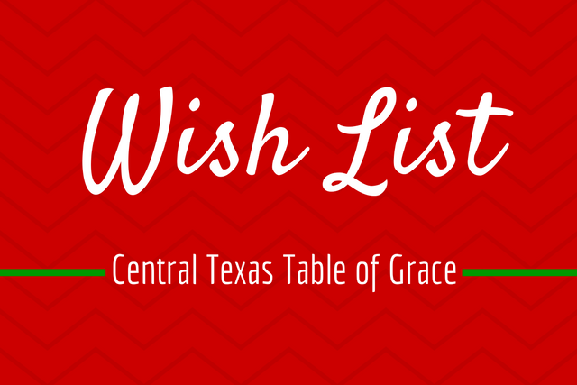 Central Texas Table of Grace holiday wish list from Amazon