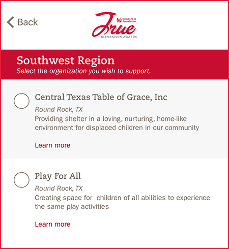 Chick-fil-A - click circle for Central Texas Table of Grace, Inc
