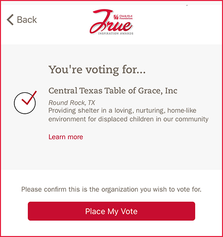 You're voting for Central Texas Table of Grace, Inc